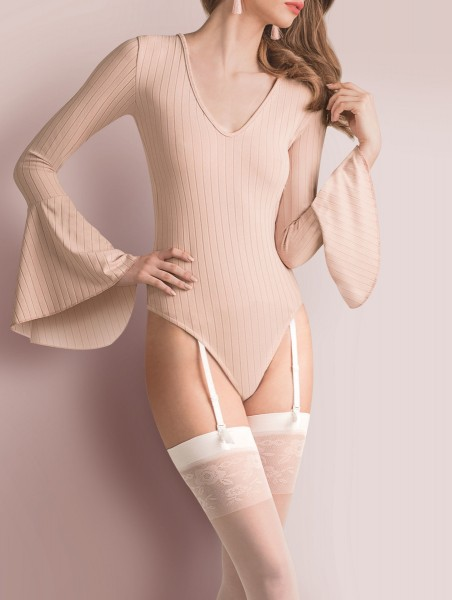 Gabriella - Beautiful sheer stockings with romantic flower pattern