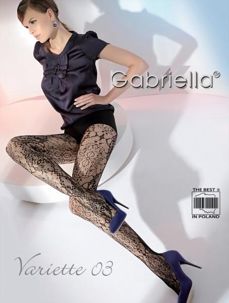 Gabriella - Elegant flower pattern fishnet tights Variette 03