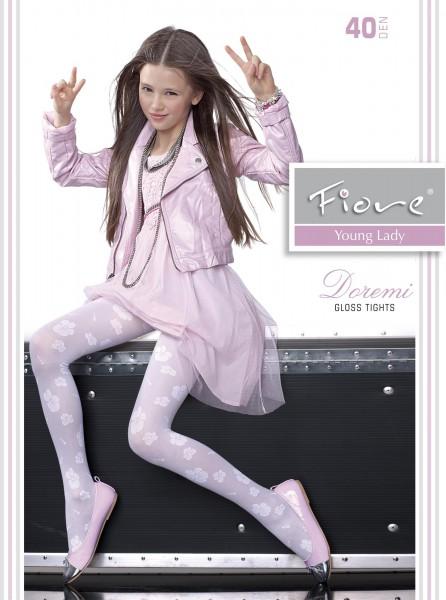 Fiore - Elegant gloss childrens tights with flower pattern Doremi 40 denier