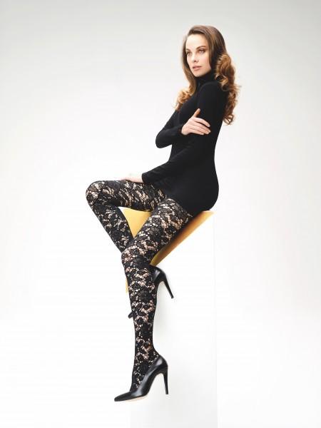 Omero Leona - Stylish lace pattern fishnet tights