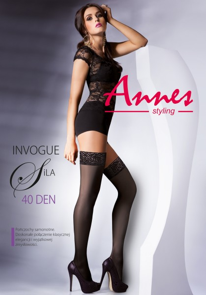 Annes Sila - Semi-opaque hold ups with beautiful floral patterned lace top