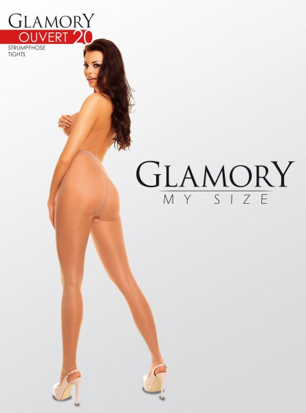 Glamory Ouvert - Glossy plus size tights with open crotch
