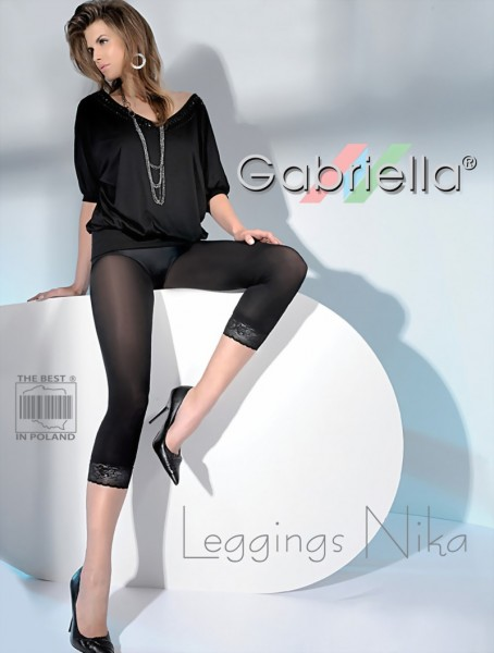 Gabriella - Opaque leggings with decorative lace Nika
