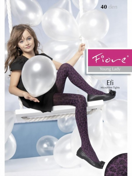 c63f5ec7fd251 Fiore - Elegant childrens tights with flower pattern Efi 40 denier ✅