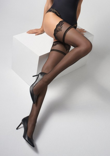 Marilyn - Delicate contrast lace top hold ups
