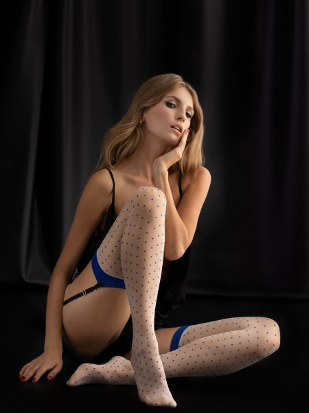Fiore - Contrast polka dot pattern stockings with flat top