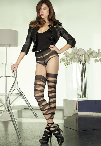 Trasparenze - Mock hold up tights with bandage pattern Oboe