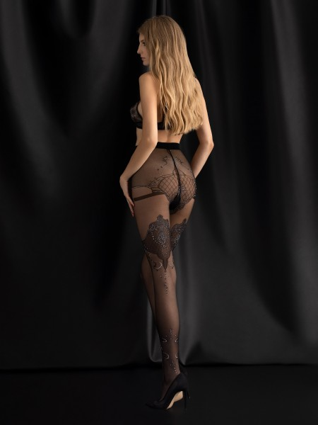 Fiore - Sheer tights with an oriental pattern and shimmery details