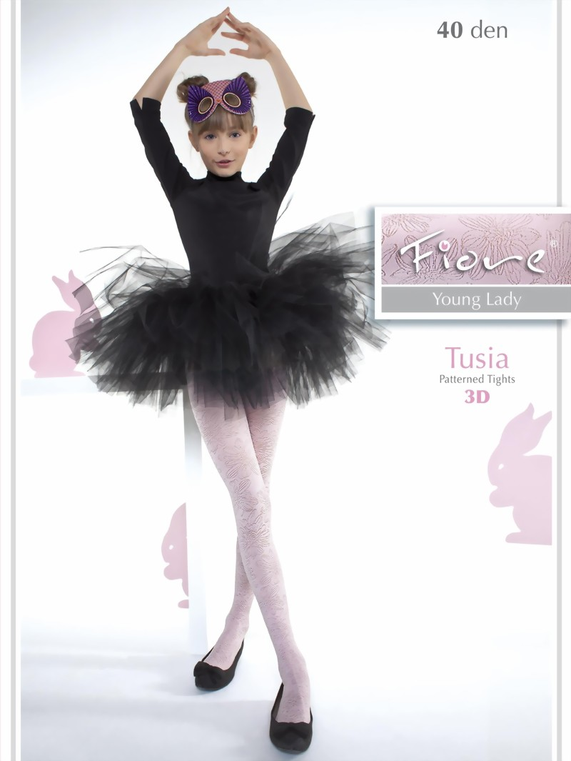 1d82f955ec49a Fiore - Elegant childrens tights with flower pattern Tusia 40 denier ✅