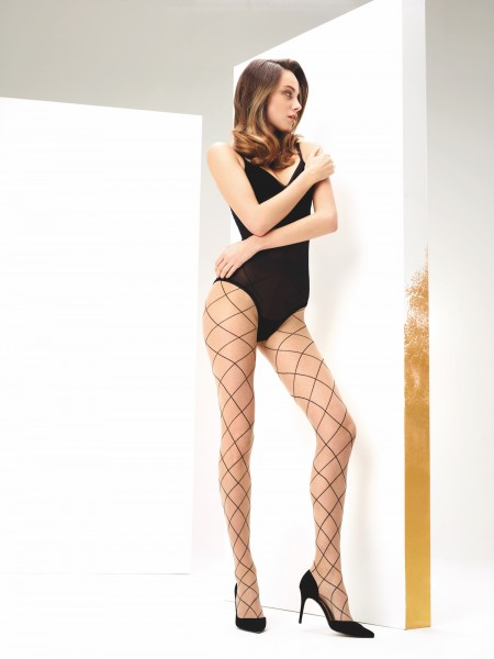 5eb31ac82 Omero Angie - Mock fishnet tights with large scale diamond pattern ...