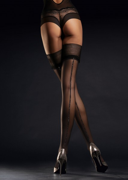 Fiore Allure - Stylish hold ups with lurex-effect back seam and sophisticated lace top