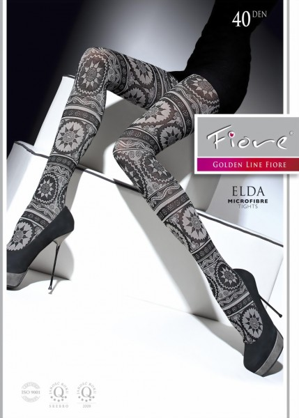 Fiore - Trendy winter patterned tights Elda 40 DEN