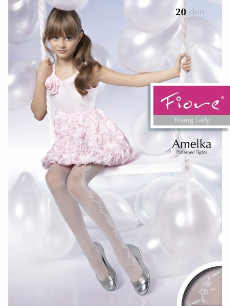 Fiore - Elegant childrens tights with flower pattern Amelka 20 denier