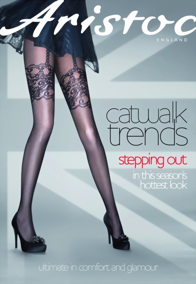Aristoc - Catwalk Trends Mock Suspender Fishnet Tights