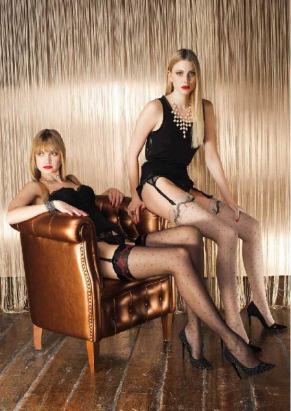 Trasparenze Rame - Polka dot stockings with an attractive patterned top