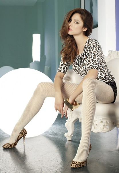 Trasparenze - Stylish hole pattern tights with wool Shamisen