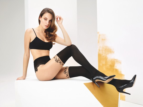 Omero Catherine - Stylish mock hold up tights with subtle floral pattern
