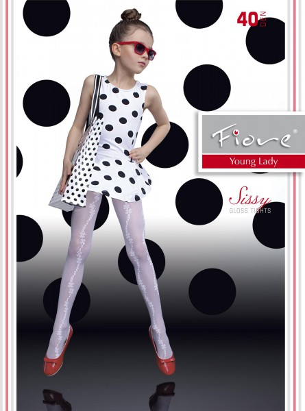 ec03f06503d37 Fiore - Elegant gloss childrens tights with flower pattern Sissy 40 denier  ✅