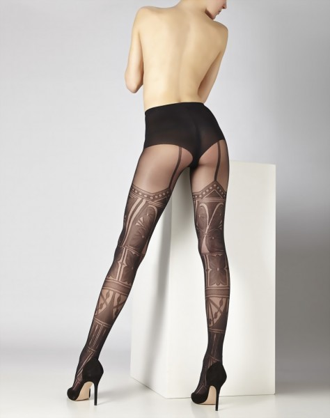 Cecilia de Rafael - Stylish patterned mock suspender tights Besal