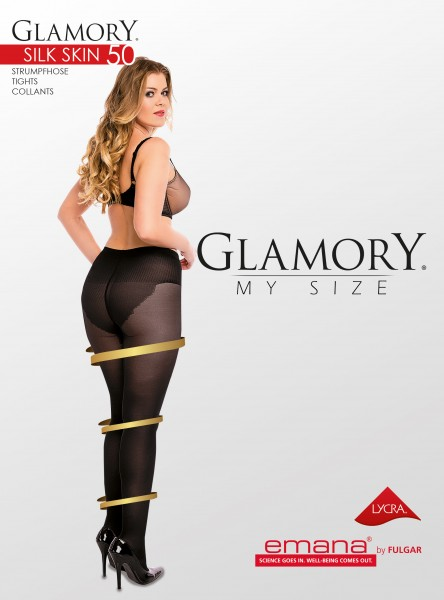 63abbae118f Glamory Silk Skin - 50 denier semi-opaque plus size tights with body  shaping panty   9989