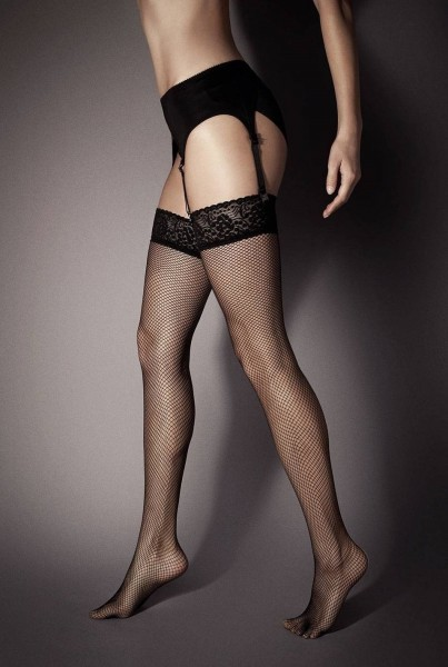 Veneziana Calze Rete - Fishnet stockings with lace top