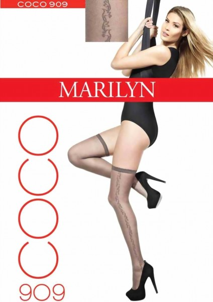 Marilyn - Elegant hold ups with subtle pattern Coco 20 denier