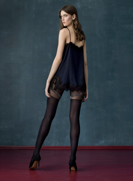 Fiore Rocket - 40 denier mock hold up tights with silver glitter