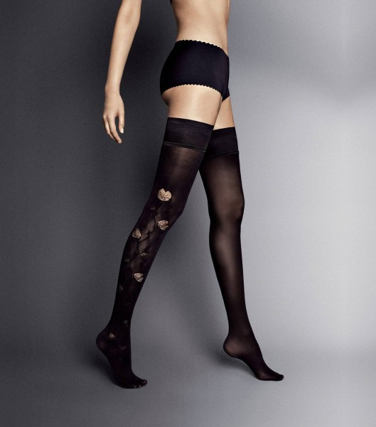 Veneziana Ar Hypnose - 30 denier semi-opaque hold ups with flower pattern