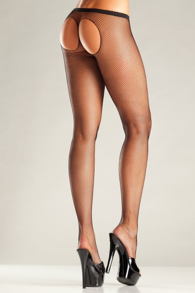 Mesh Pantyhose With Open Back