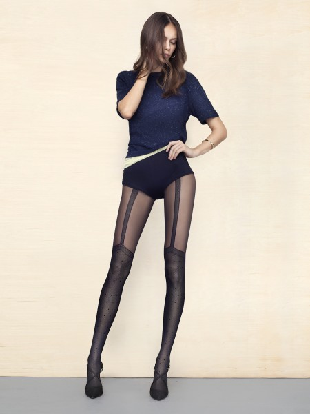 Fiore Spice Up - 40 denier mock suspender tights with polka dot pattern
