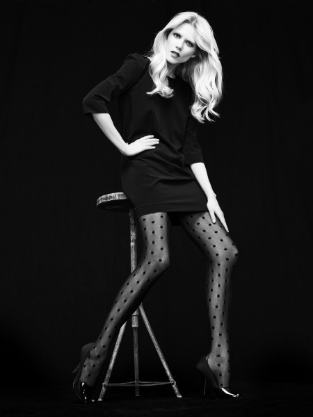Omero - Sensuous tulle back seam tights with spot pattern Pierre