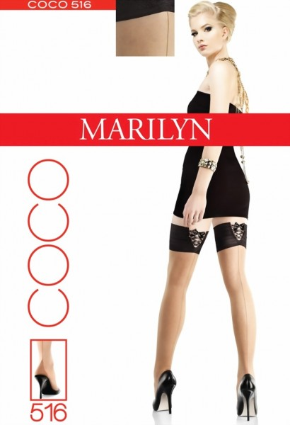 Marilyn - Back seam hold ups with sensuous top Coco 20 denier