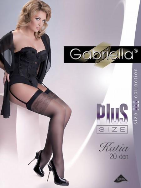 Gabriella - Elegant plus size stockings with subtle floral pattern Katia 20 DEN