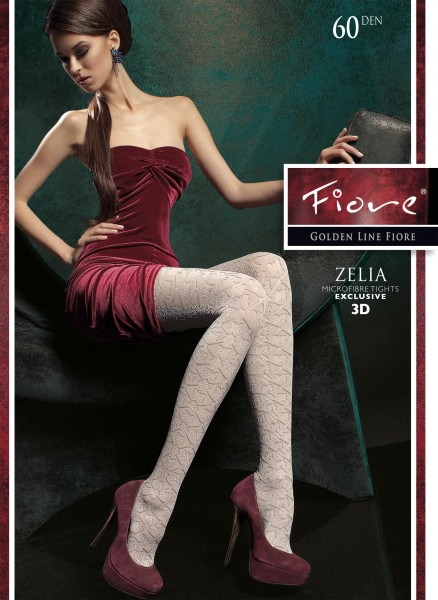 Fiore - Opaque patterned tights Zelia 60 DEN