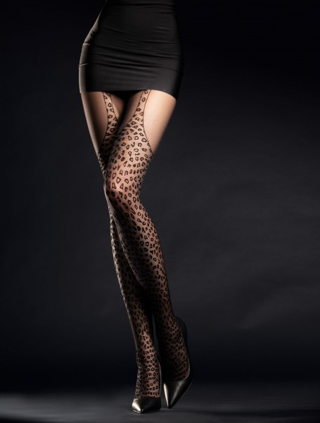 Fiore Hunt Me - Mock suspender tights with leopard pattern
