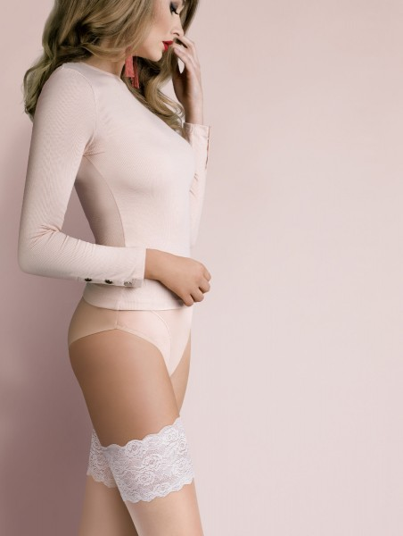 Gabriella - Beautiful contrast lace top hold ups