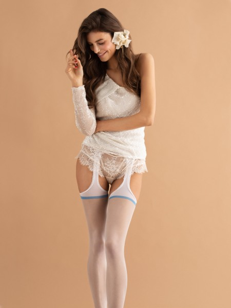Fiore Strip Panty - Sensuous bridal suspender tights with something blue