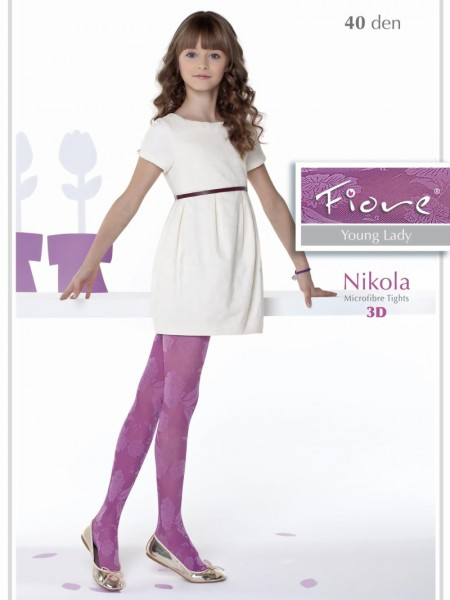 838468f0d0efe Fiore - Trendy floral pattern childrens tights Nikola 40 denier ✅