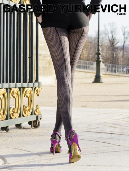 Gaspard Yurkievich and Gerbe - Designer mock fishnet tights with back seam Tresor Chic