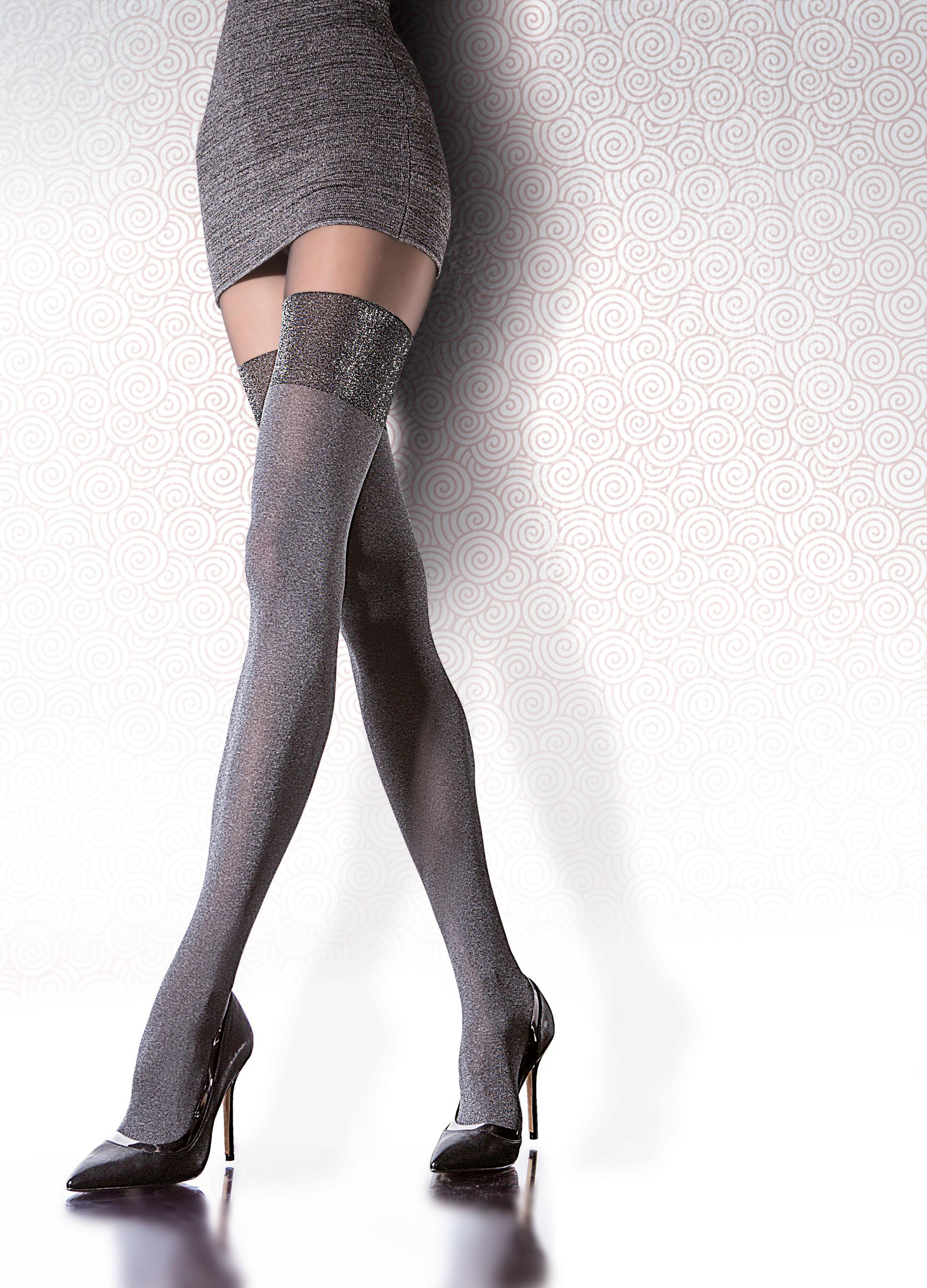 493898f0bde27 Fiore Caladia - 40 denier mock hold up tights with silver glitter ✅