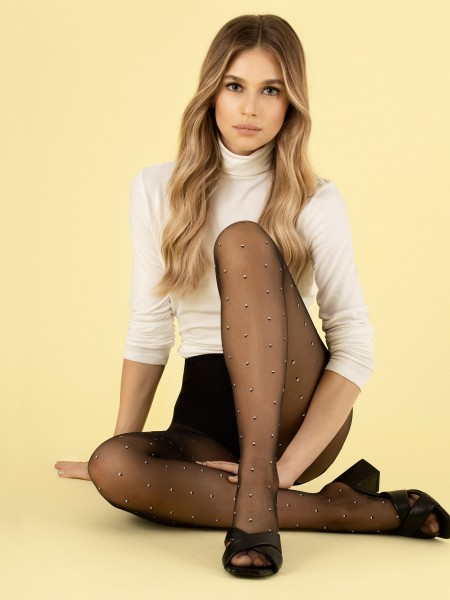 Fiore - 8 denier sheer tights with subtle black and white pattern