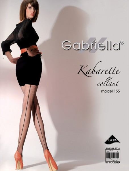 Gabriella - Back seam fishnet tights Kabarette 155