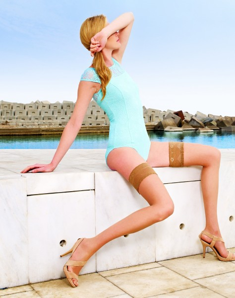5e166b192f9bd Cecilia de Rafael - 8 denier summer hold ups with elegant lace top Marbella  ✅